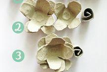 цветы из бумаги из под яиц