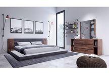 Modern Wood Veneer Fabric Grey Bedroom Collection