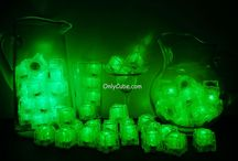 Green LiteCubes 3 Mode Light Up Ice Cubes / Only the original LiteCubes brand! Our classic green cubes feature 3 different modes! Fast flash, slow flash, and steady on. Clear shell with green LEDs.