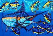 GAME FISH SILK PAINTINGS : JEAN-BAPTISTE / A collection of original game fish silk painting by Master Silk Artist Jean-Baptiste of Saint Lucia.