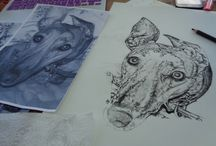 Pet Portraits and Designs in Progress / Drawings and designs from Bella & Bryn as they develop!