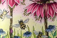 bees among the flowers