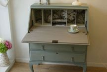 Writing desk painted with chalk paint