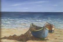 Barques échouées à marée basse