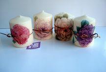 Velas decoradas con decoupage / Velas de diferentes tamaños decoradas con decoupage. Se hacen por encargo y las pequeñas quedan ideales como detalles de invitadas-
