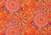 Patchwork fabric - orange / red