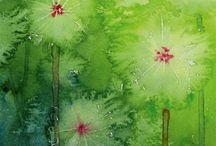 Kukkia aiheena: Piirustus & Maalaus