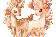 Fawn and deer illustration