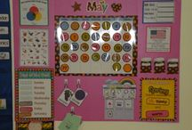 School Calendar Wall / Pages to print and ideas for memory period and a daily calendar wall for the preschool, and lower elementary set.