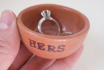 Red earthenware ceramic ring dishes