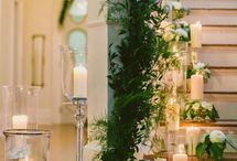 Emerald, gold, white wedding