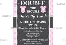 Double Trouble Pink Dots Twin Girls Baby Shower / This design features two baby outfits in pink with a white heart in the center. The background is pink polka dots and a gray chalkboard with a dotted border.