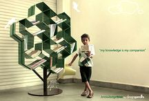 Knowledge Tree / Anyone who has an unbridled love for reading will tell you that their books deserve a real home, a place to rest their toughened spines other that the nightstand, the kitchen counter, the toilet lid and such innumerable forgotten spaces. What better way to shelve them than on this work of art aptly named the 'Knowledge Tree', which admonishes the conventional methods of storing books horizontally or vertically, but rather angles them in an interestingly aesthetic manner?