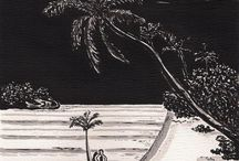 Heidi Bjork Romance Collection / Watercolor art in black & white / by Heidi Bjork