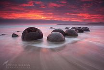 Otago New Zealand, Landscape Photos / Images from Coastal Otago, Otago Peninsula, Dunedin, Moeraki Boulders.
