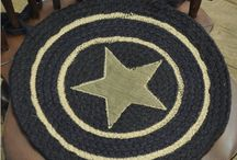 Pattern: Burlap Star Black / Burlap Star Black Collection brings out rustic country charm with a natural burlap look featuring a black burlap base with khaki appliquéd stars, perfect for your primitive or country home decor. / by Piper Classics