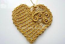 macrame hearts