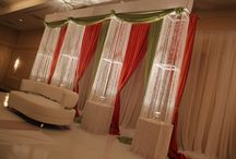 Orange & Lime Green Backdrop with Crystal Pillars / Orange & Lime Green Ceremony Backdrop with Crystal Pillars