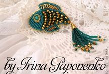 Bead embroidered broaches
