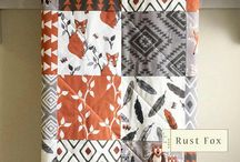 grey & orange quilts