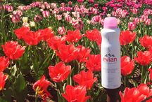 Blooming Beauty with Evian Spray / Fresh flowers & fresh skin. Happy Spring!