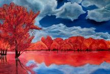 Landschap / Orange autumn  Acryl op canvas 100 x 50 Geschilderd door Monique Heijnis
