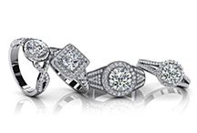 Engagement & Bridal Sets / Our exclusive collection of engagement rings and bridal sets that will knock her off her feet.  Create the ring of your dreams by selecting your desired metal type, total carat weight, and diamond quality.  Create lasting memories with personalized engraving for each piece.