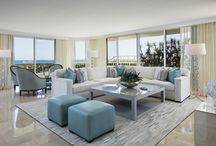 Palm Beach Paradise / This South Florida beachfront villa has the easy atmosphere of Palm Beach oceanfront living with a chic, clean nod to Hamptons living. The transitional space compliments the ocean view seen through the floor to ceiling windows. Oversized pieces of art are used to balance the large windows.