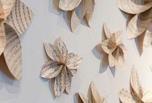 flores de papel libros viejo