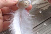 Schneeflocken mit Häkelkappen