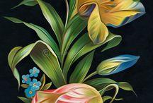 эскизы цветов и фруктов