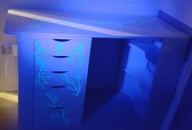 Handmade table / My maded table with glow in the dark+lichtenberg burning,high gloss