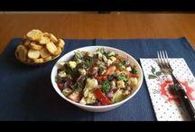 Spring salad. Salată de primăvară. Весенний салат. / Ingredients: cherry tomatoes, pepper, red onion, boiled eggs, cheese, black olive, Chinese salad, red beans, basilic, oregano, salt, olive oil, dill and croutons. Ingrediente: roșii cherry, ardei, ceapă roșie, ouă fierte, cașcaval, măsline negre, salată iceberg, fasole roșie, busuioc, oregano, sare, ulei de măsline, mărar și crutoane. Ингредиенты: помидоры черри, перец, лук красный, яйца варёные, сыр, маслины чёрные, листья салата, красная фасоль, базилик, орегано, соль, масло оливковое, укроп.