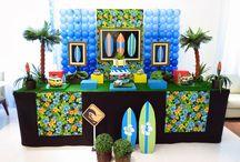 decoração festa surf