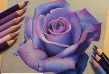 цветными карандашами