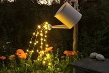 Watering can decor with Fairy lights.