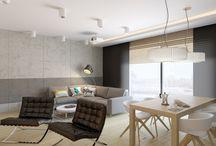 Projekt domu w Nowej Iwicznej / betonowe ściany, beton architektoniczny, płyty betonowe, drewno dębowe, fornir dębowy, grafitowe szafki kuchenne, czarne szafki
