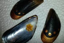 Eigene Muscheln Shells / Bemalte Muscheln, die für das Tierheim Kronach, am Tierheimfest auf dem Kreuzberg verkauft werden.