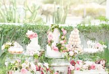 White pink desser table
