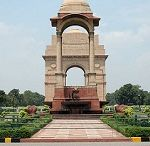 India Gate / This solemn monument was built in memory of the 90,000 Indian soldiers who died in World War I. It was built in 1931, designed by Lutyens, and was originally called the All India War Memorial. The names of the soldiers are inscribed on the walls of the arc of the gate. Later in 1971, an eternal flame was lit here in memory of the unknown soldiers who died in the 1971 Indo-Pakistan war.