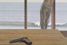 Canadian artist: ALEX COLVILLE / The Art Gallery of Ontario exhibited approximately one hundred paintings of the Canadian artist Alex Colville (1920-2013). I visited and came away with inspiration not for painting but for writing. Follow this board to enjoy and learn about the work of this artist. Anyone interested in visual arts should visit me here: https://artsy.net/mary-e-martin #Alex #Colville #Canadian #Visual #Arts