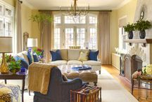 My Work / Laura Lee Home Traditional Living Room | Navy & Gold | Leaded Glass | 1920's Tudor
