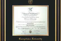 Georgetown University Diploma Frames & Graduation Gifts! / Official GU Diploma frames. Exquisitely crafted to exacting specifications for the GU diploma. Custom framed using hardwood mouldings and all archival materials, including UV glass to prevent fading from sunlight AND indoor incandescent lighting! Each frame exceeds Library of Congress standards for document preservation and includes a 100% lifetime guarantee, ensuring that a hard-earned achievement will be honored and protected for generations. Makes a thoughtful and unique graduation gift!