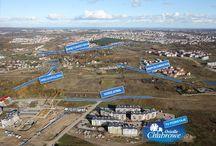 Lokalizacja - Osiedle Chabrowe w Gdańsku / Zdjęcia lotnicze, prezentujące lokalizację Osiedla Chabrowego. Na obrazach widoczne z lotu ptaka mieszkania w Gdańsku Chełmie