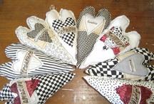 Hearts mixed media textile art