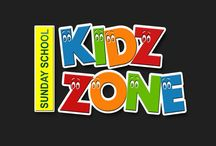 Sign for Kidz Zone / Colorful, bright signage for kids areas. Directional signs, classroom signs, welcome center signs.