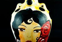 Botijos pintados / Botijos de cerámica pintados a mano