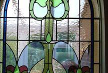 Art Nouveau leaded glass window