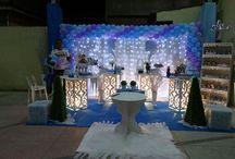festa frozen lilás e azul
