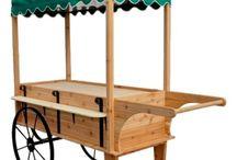 wooden food cart